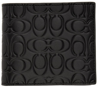 Coach 1941 Black Embossed Signature Double Bilfold Wallet