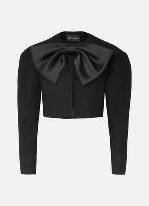 we11done Cropped Bow-detailed Wool-blend Jacket - Black