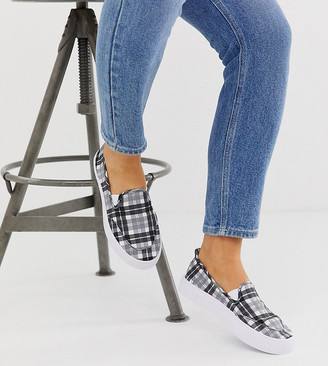 Dexter Asos Design ASOS DESIGN Wide Fit slip on plimsolls in black and white check-Multi
