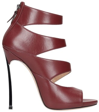 Casadei Sandals In Bordeaux Leather