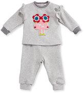 Fendi Floral Monster Track Suit, Gray, Size 12-24 Months
