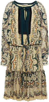 Etro Gathered Printed Cotton And Silk-blend Voile Dress