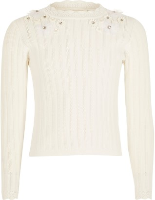 River Island Girls Cream floral embellished knitted top