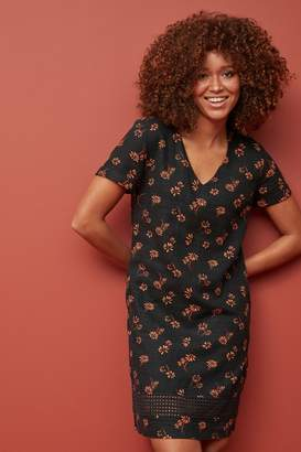 Next Womens Black Floral Linen Blend T-Shirt Dress - Black