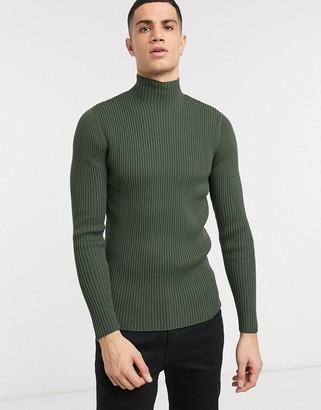 ASOS muscle fit jumper with high neck in khaki