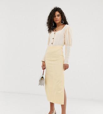 Asos DESIGN Tall denim high waisted seam detail midi skirt
