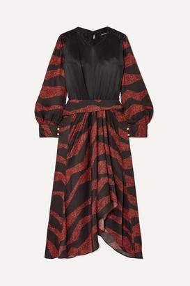 Isabel Marant Romina Asymmetric Printed Satin-jacquard Midi Dress - Black