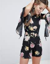 Oh My Love Floaty Off The Shoulder Printed Playsuit