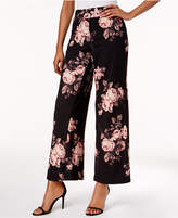 NY Collection Petite Floral-Print Wide-Leg Pants