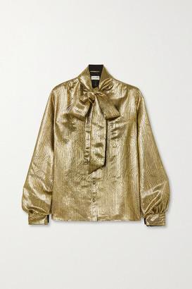 Saint Laurent Pussy-bow Silk-blend Lame Blouse - Gold