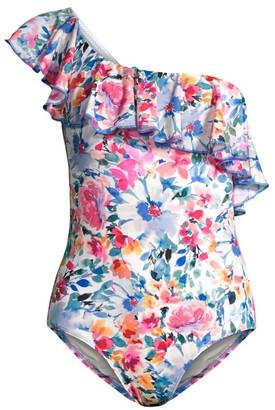 Shoshanna One-Shoulder Ruffle Print One-Piece Swimsuit