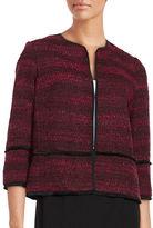 T Tahari Nalia Fringed Tweed Blazer