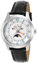 Lucien Piccard Black & Mother-of-Pearl Artista Leather-Strap Watch - Women