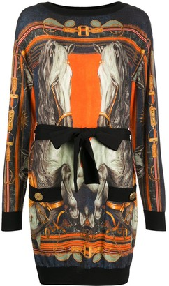 Balmain Horse-Print Belted Dress