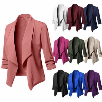 Gofodn Coats for Women Plus Size Ladies Clothing Jacket Cardigan Solid Elegant Long Sleeve Suit 10 Colour Wine Red