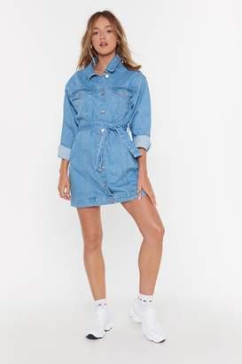 Nasty Gal Womens When in Doubt Wear Denim Belted Dress - blue - L