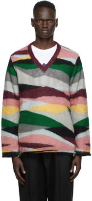 Undercover Multicolor Landscape V-Neck Sweater