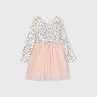 Cat & Jack Girls' Long Sleeve Iridescent Sequin Tulle Dress - Cat & JackTM Blush