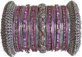 Indian Bridal Collection! Panache' Bangles Set in Silver Tone By BangleEmporium Small Size 2.6