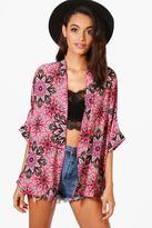 boohoo Jessica Paisley Print Chiffon Kimono multi