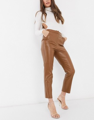 ASOS DESIGN leather-look straight leg suit pant in tan