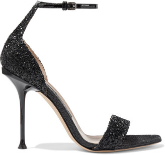 Sergio Rossi Milano Patent Leather-trimmed Glittered Canvas Sandals