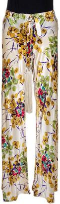 Roberto Cavalli Cream Floral Shimmer Print Silk Flared Pants M