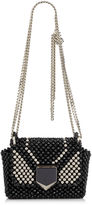 Jimmy Choo LOCKETT PETITE Black Beaded Embroidery Shoulder Bag