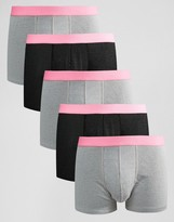 Asos Trunks In Rib Fabric With Neon Waistband 5 Pack