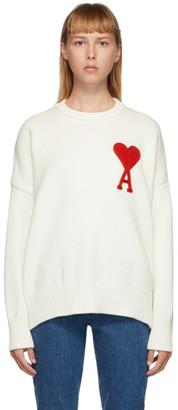 Ami Alexandre Mattiussi White Ami De Coeur Crewneck Sweater