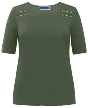Karen Scott 100% Cotton Elbow-Length Sleeve Top, Created for Macy's