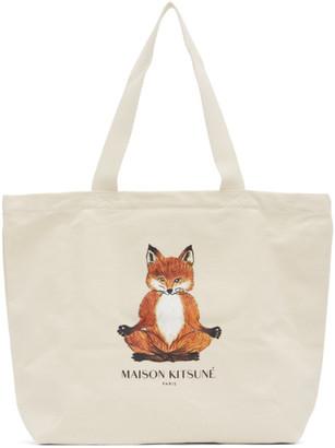MAISON KITSUNÉ Off-White Yoga Lotus Fox Tote