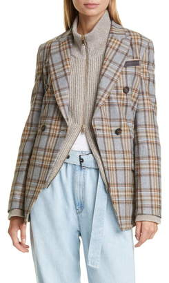 Brunello Cucinelli Double Breasted Check Flannel Blazer