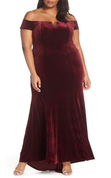 Notch Neck Velvet Off the Shoulder Gown (Plus Size)