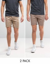 Asos 2 Pack Slim Chino Shorts In Light Brown & Stone Save