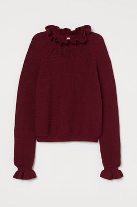 H&M Frill-trimmed knitted jumper