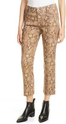 Frame Le High Python Print Ankle Crop Coated Skinny Jeans
