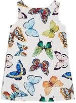 Charabia Kids' Butterfly-Print Silky Twill A-Line Dress