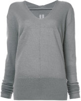 Rick Owens open V-neck hooded jumper - women - Cashmere - S