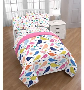 Trend Collector Colorful Birds Kids Bed in a Bag Bedding Set w/ Reversible Pink Comforter