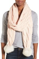 UGG Knit Genuine Shearling Pompom Scarf