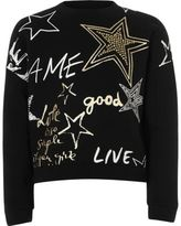 River Island Girls black graffiti print sweatshirt