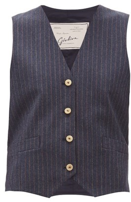 Giuliva Heritage Collection The Andrea Shadow-striped Wool-twill Waistcoat - Womens - Navy Multi