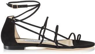 Jimmy Choo SPHYNX FLAT Black Suede Spaghetti Strap Flat Sandal