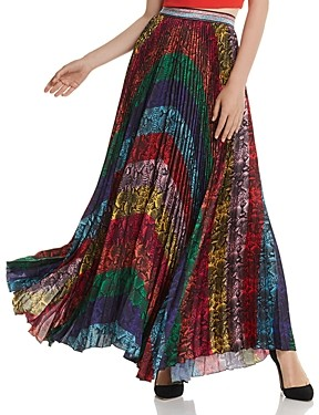 Alice + Olivia Katz Rainbow Snake Print Pleated Maxi Skirt