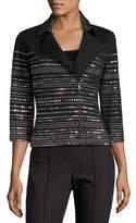 St. John Milano Knit 3/4-Sleeve Moto Jacket