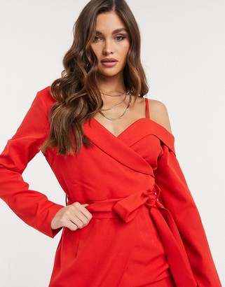 I SAW IT FIRST one shoulder wrap mini dress in red