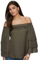 JLO by Jennifer Lopez Women's Off-the-Shoulder Tiered Ruffle Top
