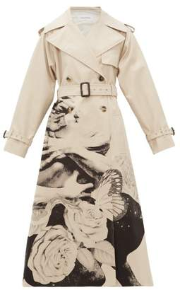Valentino Lovers Print Cotton Gabardine Trench Coat - Womens - Beige