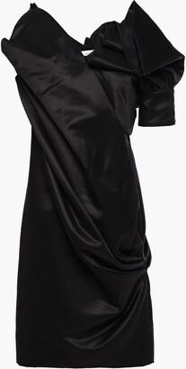 Lanvin Draped Embellished Cotton And Silk-blend Satin Dress